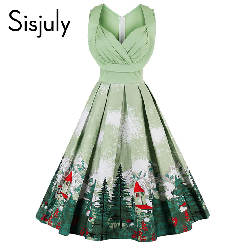 Buy Cheap Sisjuly vintage dresses 2017 floral print 1950s style cute summer party women dress spring short leeveless vintage dresses
