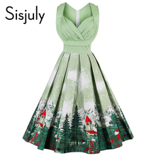 Sisjuly vintage dresses 2017 floral print 1950s style cute summer party women dress spring short leeveless vintage dresses
