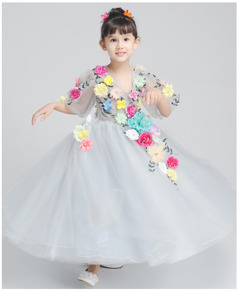 100% real luxury flowers beading childrens girl night ball gown fancy dress/party/beauty/dance/contest dress