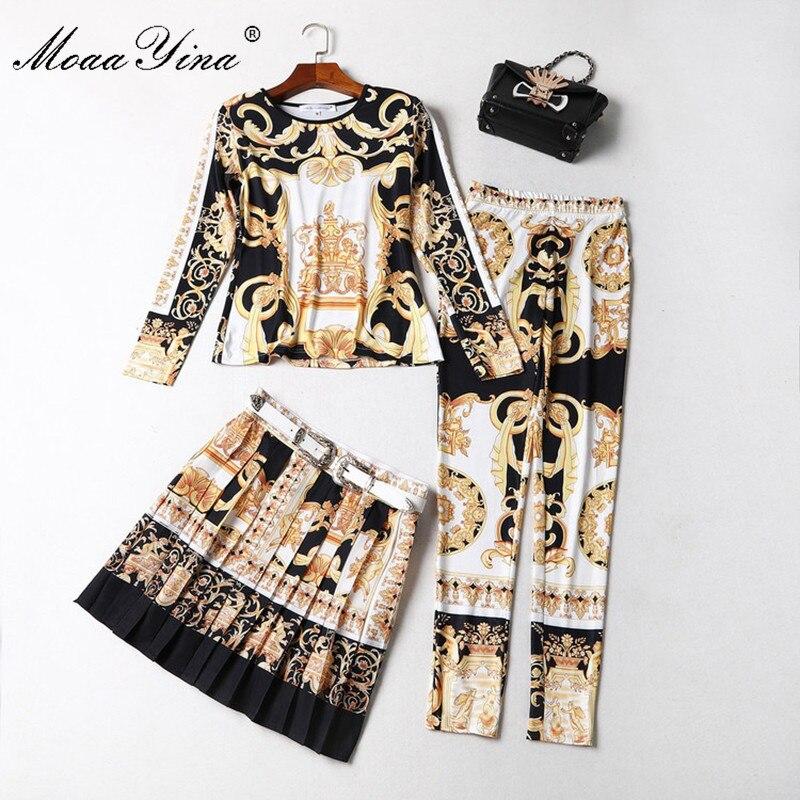 MoaaYina moda diseñador pista conjunto primavera mujer manga larga estampado cinturón media falda Retro Delgado camiseta + lápiz pantalones 3 sets-in Conjuntos de mujer from Ropa de mujer    1