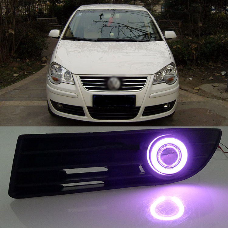Ownsun Exact-Fit Super COB Fog Light Angel Eye Bumper Projector for Volkswagen Polo  2006-2010 ownsun innovative super cob fog light angel eye bumper cover for skoda fabia scout