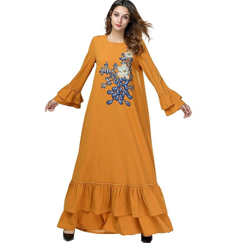 WHZHM Muslim Cascading Ruffle Yellow Women Dress Floral Embroidery Female Plus Size 3XL 4XL Loose High
