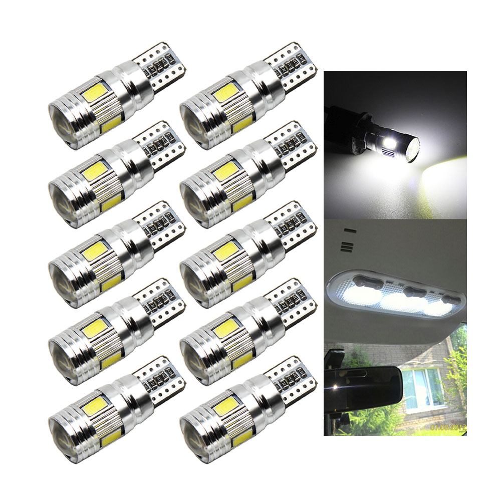 10pcs Super Quality Car LED T10 LED Canbus 6LED SMD 5630 Error Free 194 168 W5W Universal parking T10 LED CANBUS Car Side Lights
