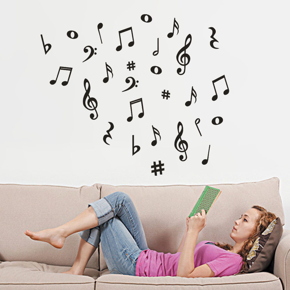 Musical Note Removable Art Vinyl Mural Home Room Decor Wall Stickers for Kids Room Bedroom Living Room Home Decoration Sticker