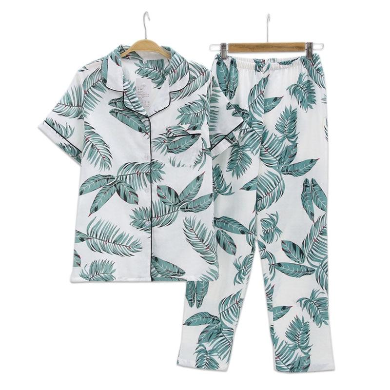 Summer Fresh leaf pyjamas women 100% gauze cotton short sleeve trousers Korea pajamas sets women sleepwear homewear mujer