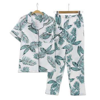 Summer Fresh leaf pyjamas women 100% gauze cotton short sleeve trousers Korea pajamas sets women sleepwear homewear mujer - DISCOUNT ITEM  20% OFF All Category