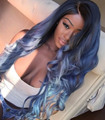 Fashion Natural Black Long Body Wavy Wig Ombre Blue Wig Synthetic Lace Front Wig Blonde Tips Glueless Heat Resistant Women Wig