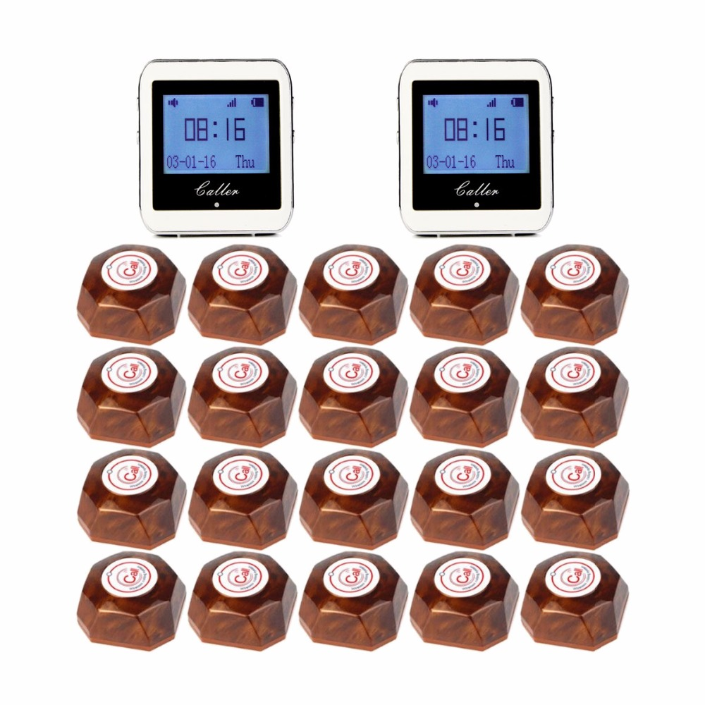 Wireless Restaurant Pager Coaster Paging System 2 Watch Receiver+20 Call Button Pager Guest Watches Waiter Caller F3288B hot selling restaurant wireless waiter buzzer call button system 1 display 2 black watch pager 30 black table call bells