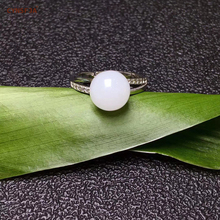 Certified Natural Hetian White Jade 925 Silver Inlaid Jade Rings Classical Adjustable High Quality Wonderful Birthday Gifts