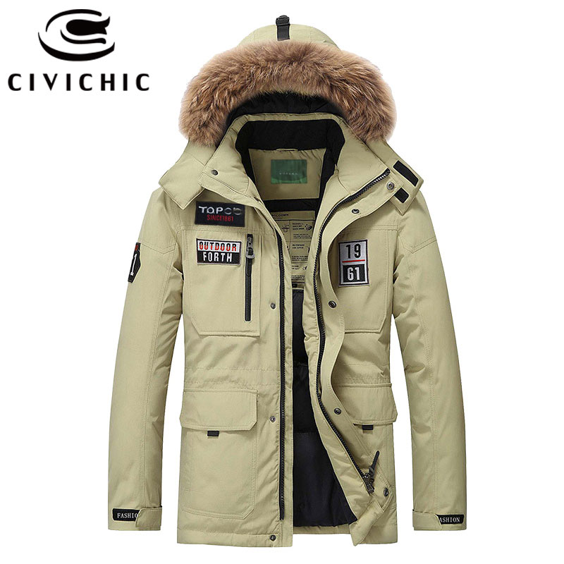 CIVICHIC Top Grade Men Down Jackets Windproof Warm Regular Parkas Winter Thick Coats Casual Outerwear Eiderdown Hooded Wear DC01