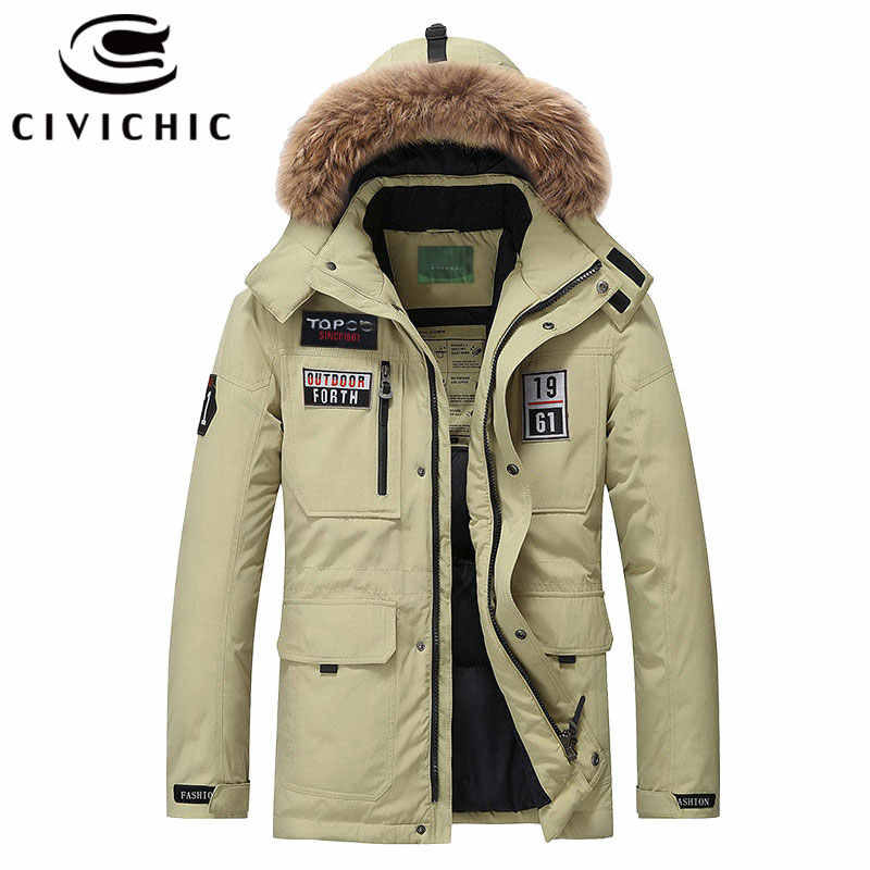 Chaqueta de plumón CIVICHIC de alta calidad para hombre, Parkas regulares cálidas, abrigos gruesos de invierno, prendas de vestir exteriores informales, ropa con capucha DC01