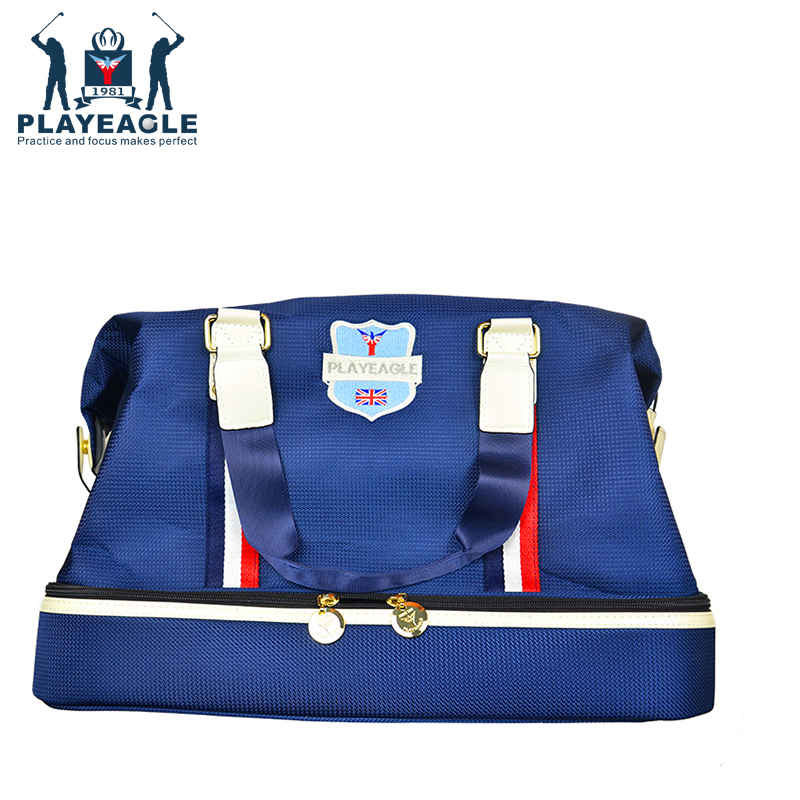 PLAYEAGLE Men's Golf Clothing Bag Waterproof Nylon Golf Boston Bag Long Strap/Hand-holding Travel Bag for Women with Shoe Pocket universal waterproof bag with strap