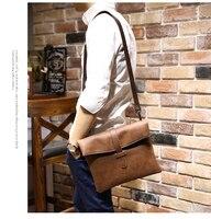 New Crazy Horse PU Leather Men Bag Small Coin Purse Shoulder Bag Vintage Design Handmade Zipper