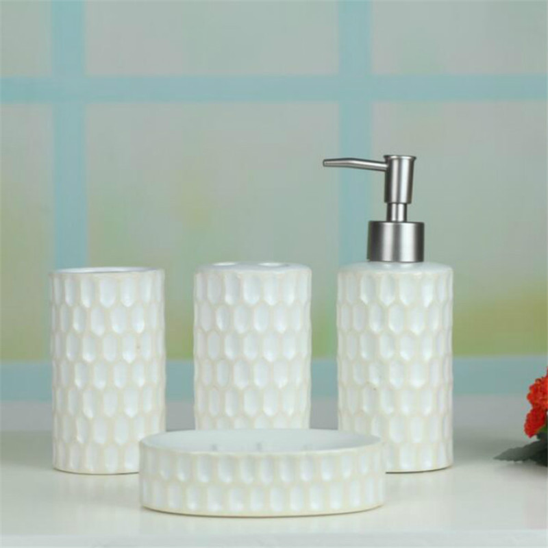 aliexpresscom buy 4pcsset bathroom accessories ceramic bathroom set accessories simple white color toothbrush toothpaste soap holder dispenser from - White Bathroom Accessories Ceramic