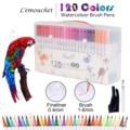 120 colores doble punta cepillo marcadores Fineliners arte marcadores de tinta a base de agua de caligrafía para colorear escuela de dibujo, arte suministros