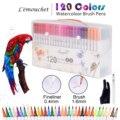 120 farben Dual Tip Pinsel Marker Stifte Fineliners Kunst Marker Tinte Auf Wasserbasis Kalligraphie Färbung Zeichnung Schule Kunst Liefert