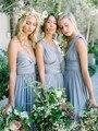 2017 Azul Empoeirado Conversíveis Vestidos de Dama de honra Longo Oito Maneiras De Desgaste Plissada País Vestidos de Convidado Do Casamento de Praia Vestido Longo