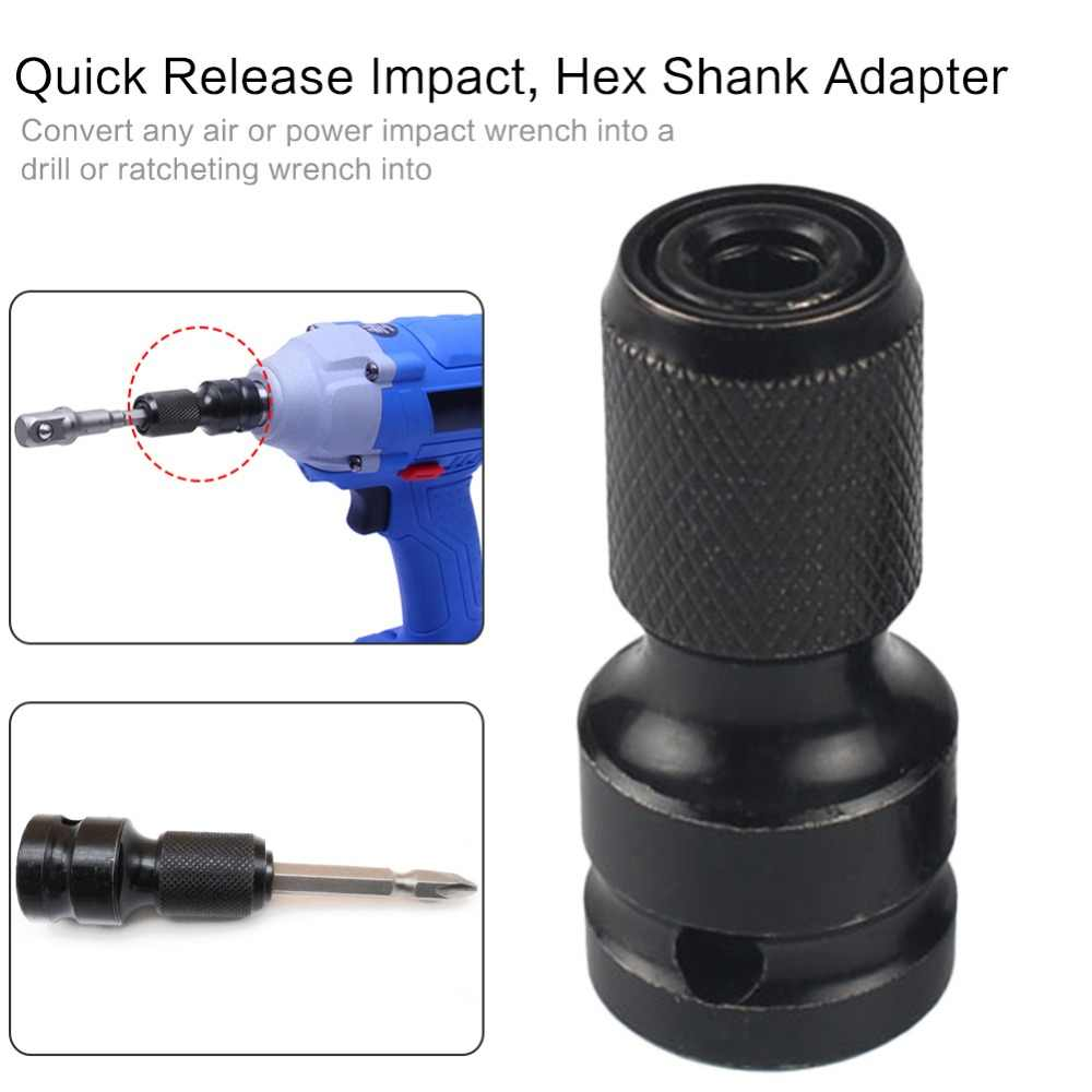 "1Pc 1/4"" Hex Shank Drill Chuck Conversion Kit Converter Impact Driver 1/2"" Square Quick Change Adapter Converts Air Power Wrench"