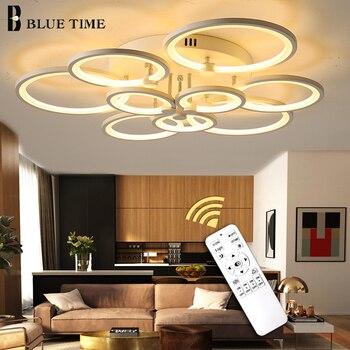 Trắng và Đen LED Hiện Đại Đèn Chùm Lustre Cho Phòng Khách Đèn Phòng Ngủ phòng Ăn Acrylic Ốp Trần Đèn Chùm Ánh Sáng Đèn LED