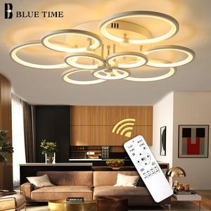 Image 1 - White&Black Modern LED Chandelier Lustre For Living Room Light Bedroom Dining room Acrylic Ceiling Chandelier Lighting Luminaire