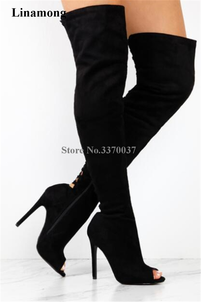 High Quality Women Fashion Open Toe Black Suede Leather Over Knee Gladiator Boots Cut-out Super High Heel Thigh Long Boots women fashion open toe suede leather side gold zipper up over knee gladiator boots cut out elastic thigh long high heel boots