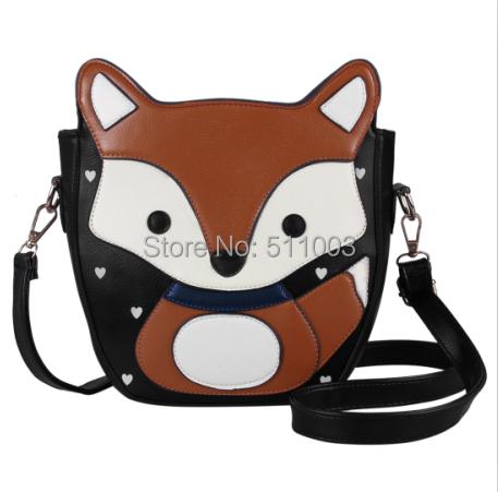 2016 Nova Primavera da Coréia Do Estilo Mulheres Messenger Bags Adorável Lindo Bolsas de Sacos de Ombro de Couro De Raposa Mulheres