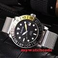 42 мм Parnis черный циферблат сапфировое стекло Дата Miyota 8215 автоматические мужские часы P814