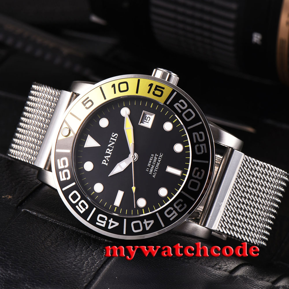 42mm Parnis black dial Sapphire glass date Miyota 8215 Automatic Mens watch P814 42mm parnis white black dial sapphire glass miyota 8215 automatic mens watch 423