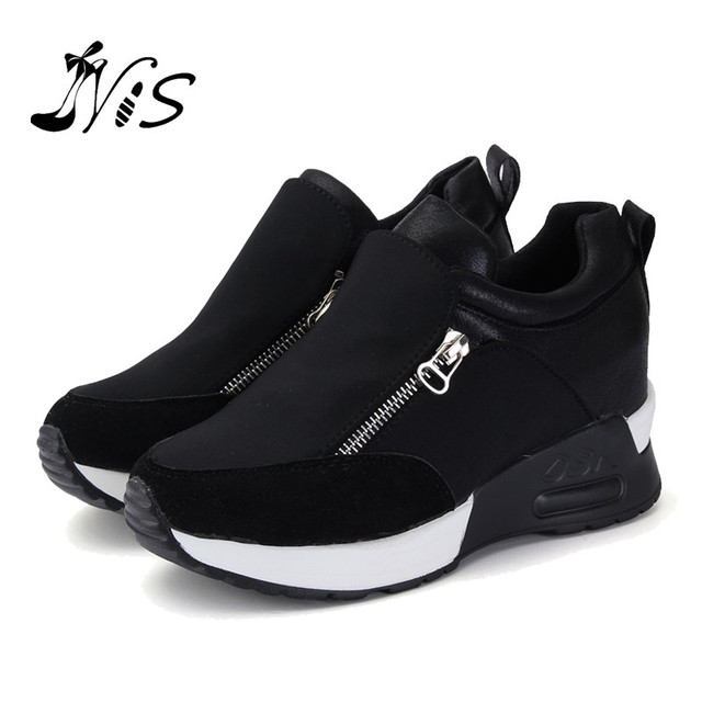 Women S Autumn Thick Heel Sport Shoes BLACK