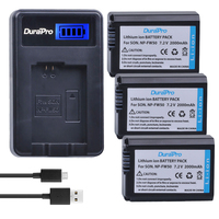 DuraPro 3Pcs 2000mAh NP FW50 NPFW50 NP FW50 Battery LCD USB Charger For Sony NEX 5