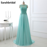 Mint Evening Dresses Long hot Sheer Jewel Neck Lace Applique Beaded Robe De Soiree Real Photo Backless Prom Party Gown LX329