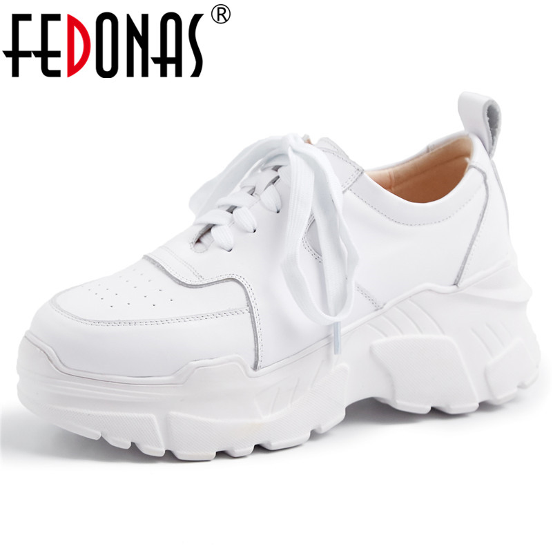 FEDONAS Fashion Black White Women Casual Shoes Woman Genuine Leather Lace Up Leather Sneakers Round Toe