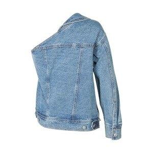 Image 5 - Twotwinstyle casual um ombro denim jaqueta para mulher lapela manga longa botão lado dividir casaco moda feminina verão 2020