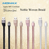 MOMAX Original Solid MFi Lightning Data Link Cable 1m Connector Genuine Leather Fast Charger Cable For