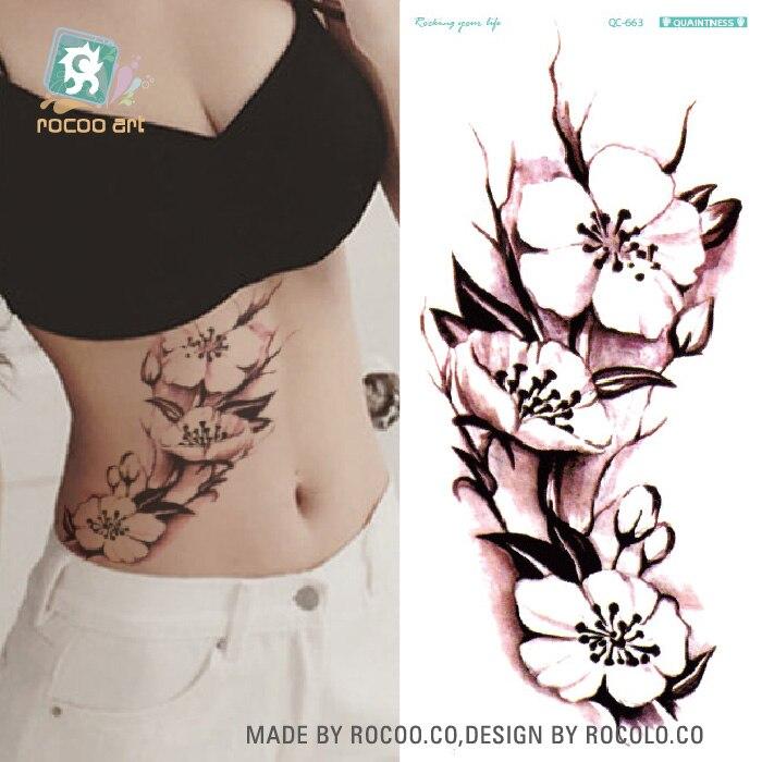 qc-663/Green tattoo fashion personality tide female lotus stickers wholesale custom