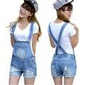 Afligido Washed buraco Denim Jumpsuit Romper para as mulheres Denim macacão Playsuit Short Jeans calças femininas macacão Catsuit