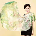 Gonzetank 2017 New 100% silk 180cm * 110cm length Women's elegant inkjet Pure silk scarves scarf shawl Wholesale Purchasing