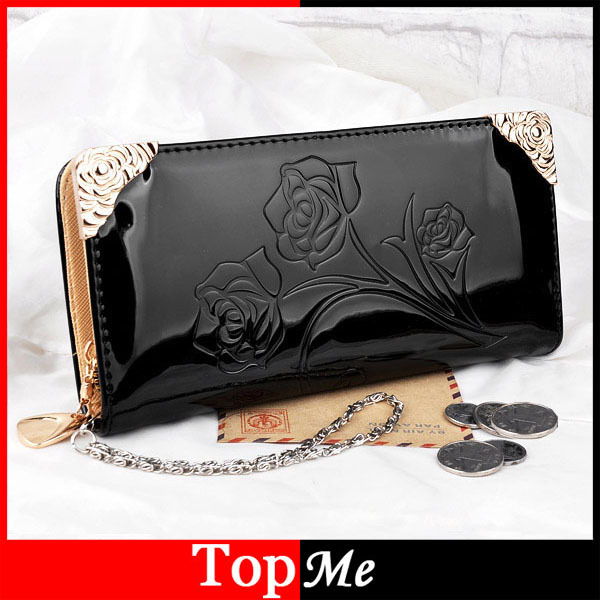 New Arrival Women Wallets Patent PU Leather Rose Flora Lady Long Zipper Clutch Coin Purse Handbags Wallet Cards Holder Burse Bag