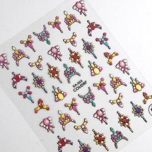 Image 2 - 1 feuille 3d Nail Art autocollant adhésif autocollants outil bricolage ongle décoration outil en relief fleur autocollant