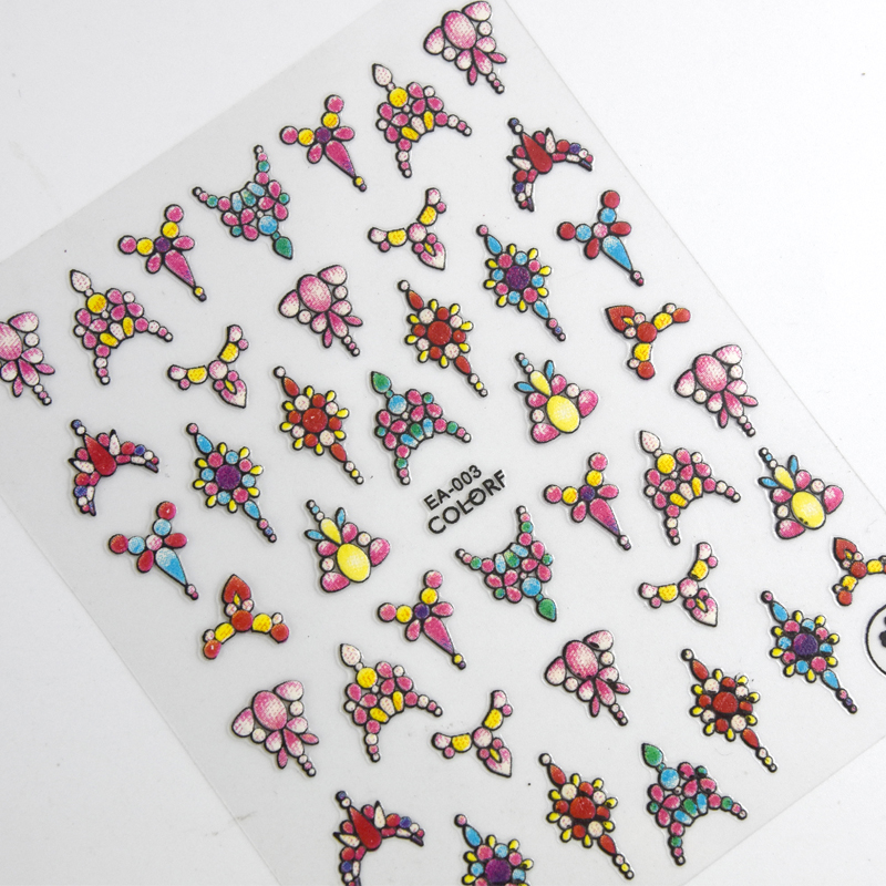 Image 2 - 1 sheet 3d Nail Art Sticker Adhesive Sticker Decals Tool DIY Nail Decoration Tool Embossed Flower Sticker-in Stickers & Decals from Beauty & Health