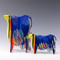 Unique abstract cow sculpture decorative Exquisite artistic multicolor cow home decoration sculpture