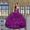 Espumante Querida Cristal Roxo Vestidos Quinceanera 2017 Organza Ruffle Ball Vestido Baratos Vestidos Quinceanera 15 Anos Vestido