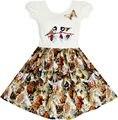 Sunny fashion vestido da menina flor da borboleta do pássaro do vintage escola do partido vestidos de casamento da princesa vestido de algodão 2017 verão tamanho 5-10
