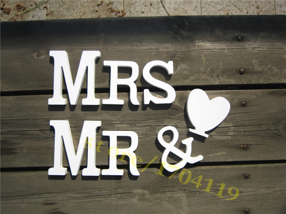 Wedding Decoration MR& MRS Is Artificial WOOD Wooden White
