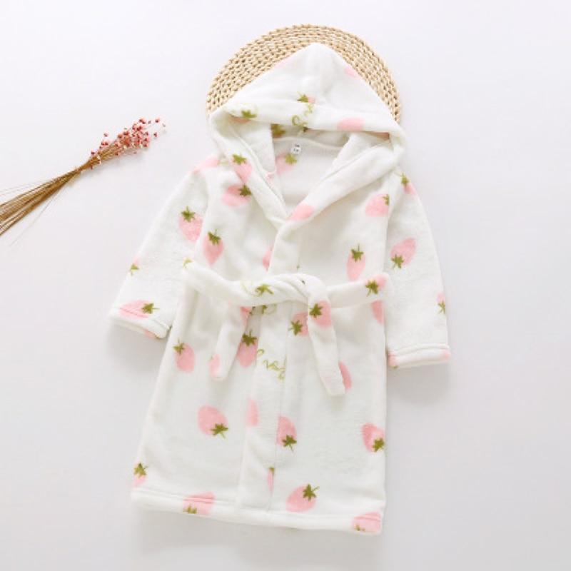 2019 New Baby Girls Winter Flannel Pajamas Kids Boys Cartoon Warm Hooded Sleepwear Children's Coral Velvet Bathrobes B105(China)