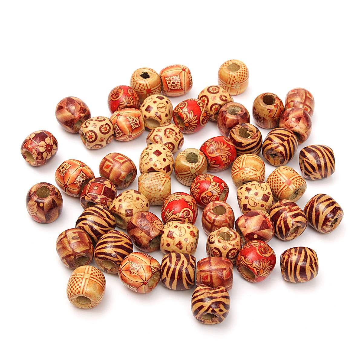 50Pcs Dreadlock Bead Wooden Hair Beads Braiding Big Hole ...