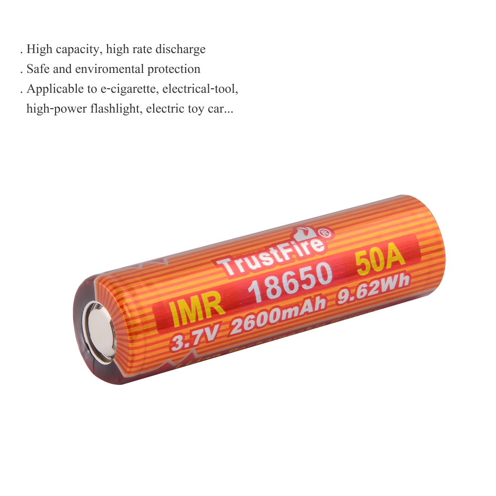 TrustFire IMR 18650 2600mAh 3.7V 50A 9.62Wh High-Rate Lithium Rechargeable Battery For E-cigarette LED Flashlight