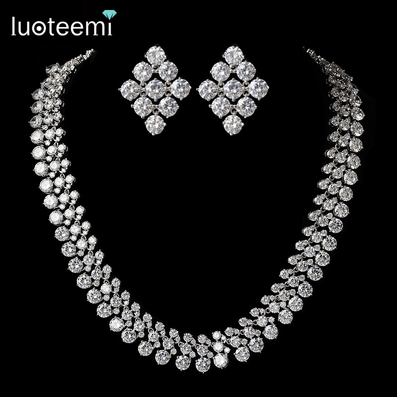 LUOTEEMI New Hot Sale Wedding Fine Jewelry AAA Sets Cubic Zircon White Gold-Color Necklace Earrings For Fancy Women Wholesale new winter girls coat cotton girls jacket thick fake fur warm jackets for girls clothes coats solid casual hooded kids outerwear