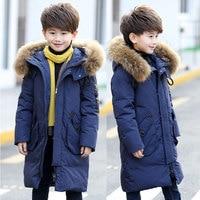 Teenage Boy Parkas Children Winter Warm Coat Boy's Down Jacket Long Thick Winter Jacket Children's Warm Coat Raccoon Fur 120 170