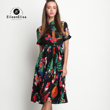 Luxury Dresses Women Designers Vintage Runway Print Dress 2017 Summer Floral Woman